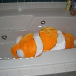 stuffed fish in a bathtub