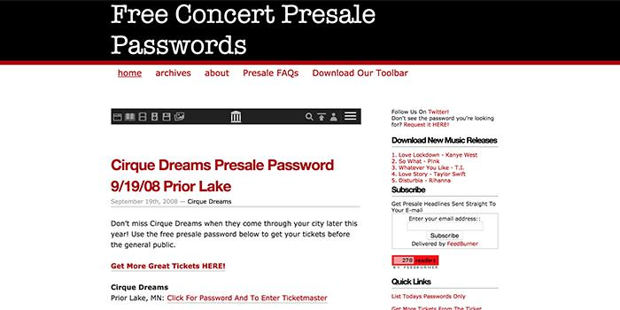 concert presale passwords affiliate marketing